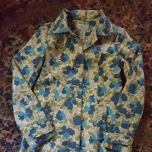 Old Navy floral canvas rain coat XS